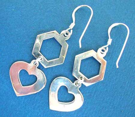 925.sterling silver polygon heart french wired hook earring
