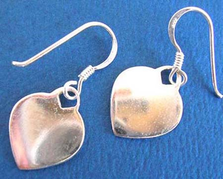 thailand handmade french hook 925 sterling silver plain heart chip earring