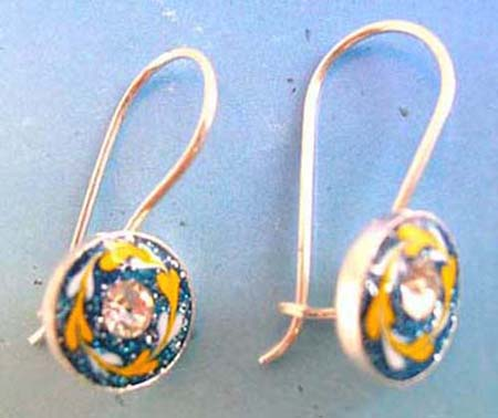 925.sterling silver enamel earring french wire with clip in