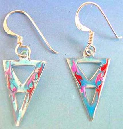 925.sterling silver fish hook triple triangle enamel sky blue and dark blue color earring