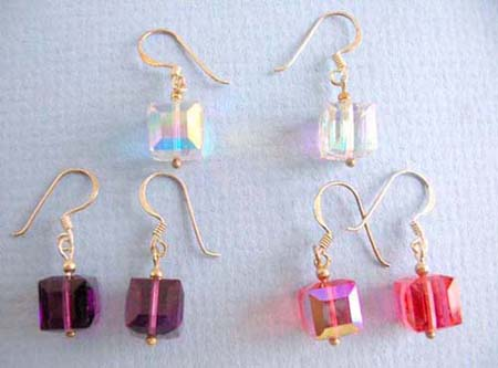 assorted color 925.thai sterling silver earring on french wire with cubic zirconia design