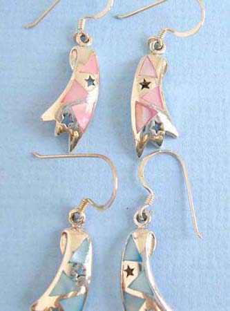 sterling silver irregular shape earring with handcrafted star