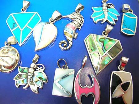 paua shell, mother of pearl shell sterling silver pendants charms