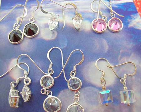 assorted cz fish hook sterling silver earring, in assortment of designs/colors