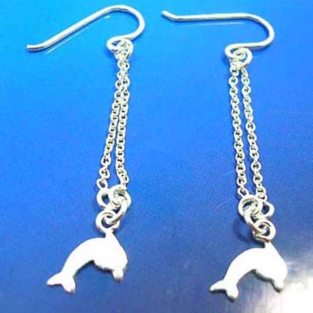 french wired hooksterling silver earring dolphin outline