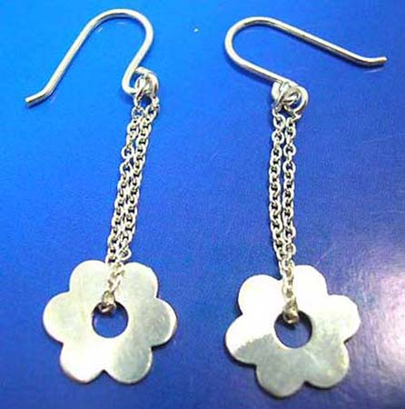 french wired hook sterling silver earring flower chips