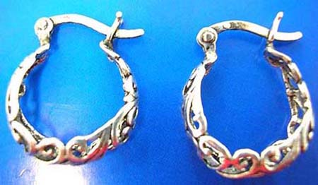 filigree sterling silver ear hoop earrings