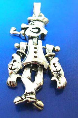 sterling silver pendant in gentleman figure design with head, arms and legs movable