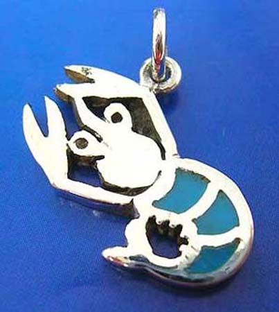 lobster sterling silver pendant embeded turquoise semi-precious stone