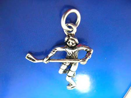 sport spirit hocky player with stick design sterling silver 925 thailand made pendant