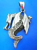 handmade jewellery flying dragon design sterling silver 925 Thailand made pendant