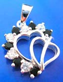 double heart love sterling silver pendant with multi mini black and clear cz stone decor around edge