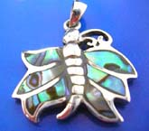 sterling silver 925 Thailand made pendant with 6 mini abalone seashell inlaid butterfly outline
