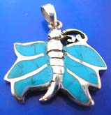 sterling silver 925 Thailand made pendant with 6 mini Turquoise semi precious stone inlaid butterfly outline