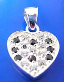 Heart love pendant made of 925. sterling silver with multi mini black and clear cz stone embedded