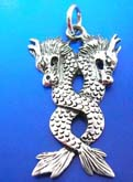 Asia power double dragon sterling silver pendant