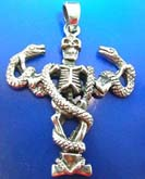 Cut-out snake on skeleton Thai silver pendant sterling 925