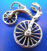 Cut-out wheel movable bicycle Thai silver pendant sterling 925
