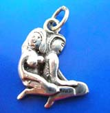 Naked knee-down couple Thai silver pendant sterling 925