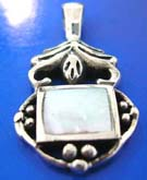 Sterling silver pendant with retangular shape mother of pearl seashell