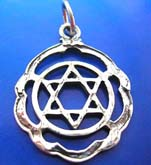 Sterling silver pendant in  mystic double triangle in circle with wavy edge design